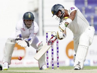 Khurram Manzoor yesterday made the first Test century by a Pakistan opener against South Africa since 2003. (Photo courtesy of Cricket365)