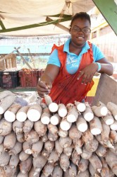A vendor selling cassava at the Merriman Mall