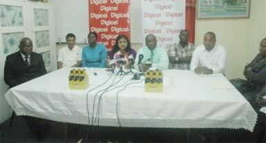 Minister of Education, Priya Manickchand (fourth from left) addresses those present at yesterday's launch of the National Schools' Championship. Also in photo from left are Chief Education Officer, Olato Sam, Region Four Chairman, Clement Corlette, Permanent Secretary within the Ministry, Delma Nedd, GTU President, Colin Bynoe, Digicel's Events and Sponsorship Manager, Gavin Hope and Nationals Marketing and PR Officer, Edison Jefford.