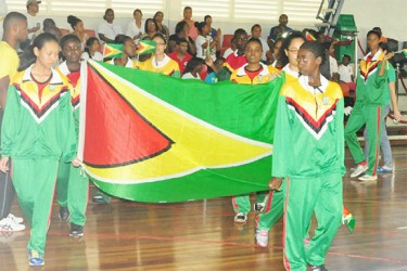 Guyana's delegation arriving at the Ismay van Wilgen Sporthal for the opening ceremony of the second leg of this year's Inter Guiana Games. (Orlando Charles photo)