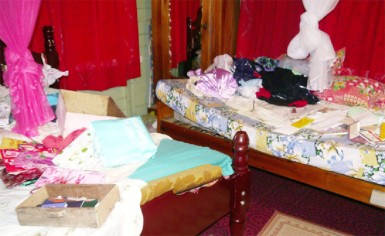 One of the bedrooms that the bandits ransacked