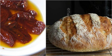 Sun-dried Tomatoes in oil R: Sun-dried Tomato Bread (Photos by Cynthia Nelson)