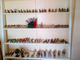 Locally-made balata figurines at Shirley's Souvenir shop at Lethem.