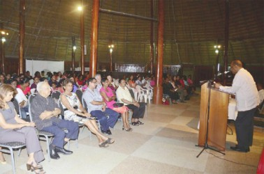 PPP General Secretary Clement Rohee  addressing the gathering at Friday's evening of reflection on the life of late former President Janet Jagan, which was organised by the Women's Progressive Organisation (WPO).