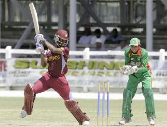 Shimron Hetemyer on the attack during his innings of 62
