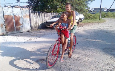 These two ladies were returning home on their bicycle from a nearby shop