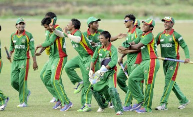 The Bangladesh team celebrate winning the series against the West Indies U19 team yesterday at the Everest Cricket Club ground. (Photo courtesy of West Indies Cricket Photostream)