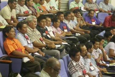 Some of the Toshaos at the opening of the seventh annual NTC meeting yesterday. (Photo by Arian Browne)