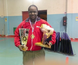 Christopher Franklin, the most outstanding player at the just concluded French Guiana League with his spoils.