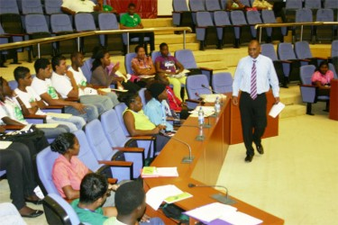 Agriculture Minister Dr Leslie Ramsammy during his address to students at the forum