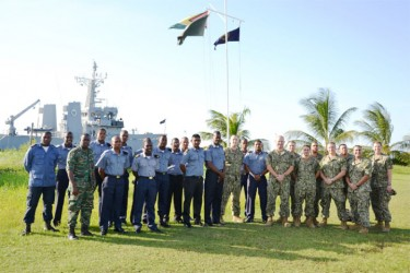 GDF and US Coast Guardsmen during a visit by the US Technical Assistance Field Team earlier this week (US Embassy photo)