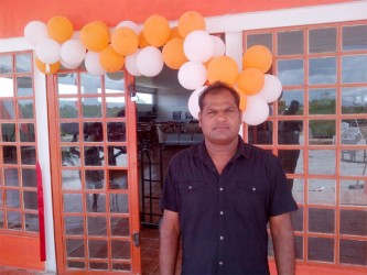 Rajendra Maye at the entrance of the store yesterday afternoon