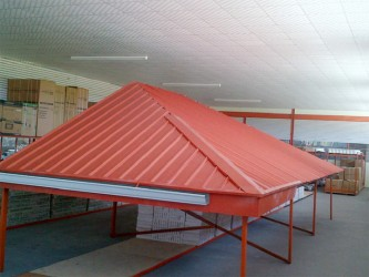 Maye said that steels roofs such as this one on display on the store are 80% more affordable than wood alternatives, but at the same time are stronger, lighter, impervious to damage by pests, and will generally last longer