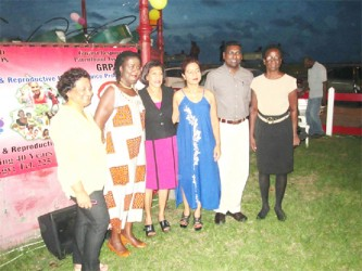 From left: Reverend Maureen Massiah, Chief Medical Officer Dr Shamdeo Persaud, President of GRPA Pamela Nauth, First Lady Deolatchmie Ramotar, UNFPA representative Patrice La Fleur and GRPA Executive Director of GRPA Patricia Bisnauth at Sunday's event.