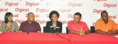From left, Digicel Head of Sales, Nalini Vieira, Vice-President of the Lusignan Golf Club (LGC) Dave Mohamed, Digicel's Head of Marketing Jacqueline James, 2011 Digicel Open winner Raj Kumar and Events Sponsor Manager Gavin Hope. (Orlando Charles photo)