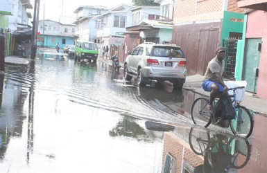A cyclist pedals through flooded streets of Albouystown.