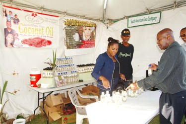 Lois Rickford tending the South American Coco stall at the recently concluded Caribbean Week of Agriculture exhibition in Guyana.