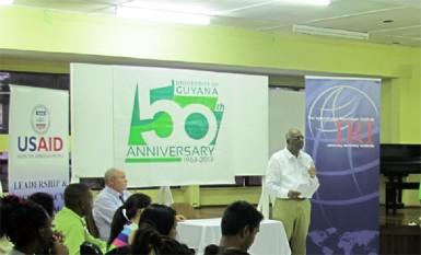 Ralph Ramkarran addressing the students (US Embassy photo)
