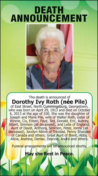 Dorothy Roth (nee Pile)