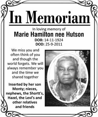 Marie Hamilton nee Hutson
