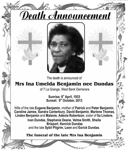 Mrs Ina Benjamin nee Dundas