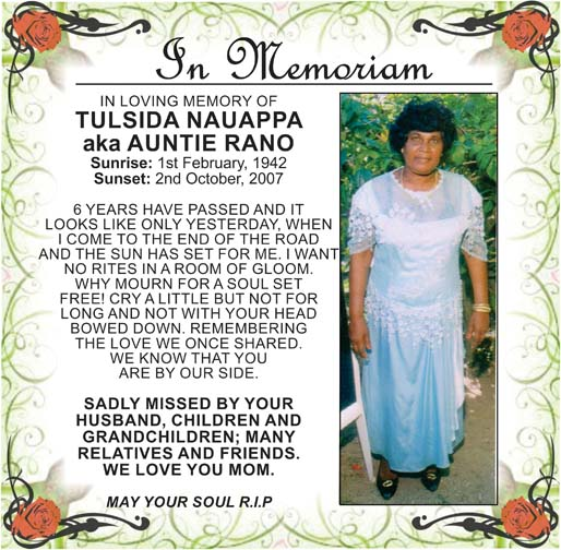 Tulsida Nauappa aka Auntie Rano