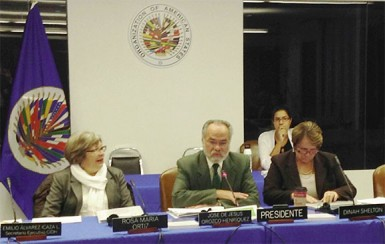 IACHR Commissioners at the Guyana hearing (left to right) Rosa Maria Ortiz, rapporteur with responsibility for children's rights, Jose De Jesus Orozco Henriquez, President of the IACHR, and Dinah Shelton, rapporteur responsible for Guyana