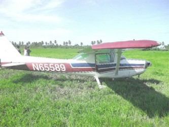 The aircraft in a rice field at Maria's Pleasure, Wakenaam two years ago (Stabroek News file photo)
