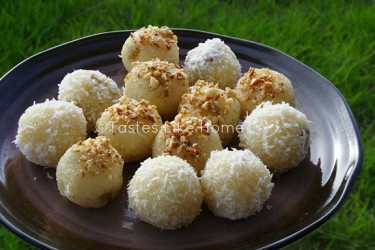 Laddoo with Coconut & Almond garnish (Photo by Cynthia Nelson)