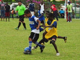 St Pius Primary School on the attack in their match against East La Penitence yesterday at the Banks DIH Thirst Park ground.