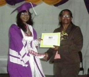 President's College and Guyana's top CAPE student Shalita Appadu  receiving her certificate