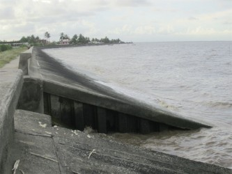 BK International was contracted to rehabilitate sections of the seawall from Uitvlugt to Den Amstel. This portion of the wall is located at the Stewartville koker. The majority of the work consisted of tarring cracks and wall strengthening, including adding to the grouted boulder slope.