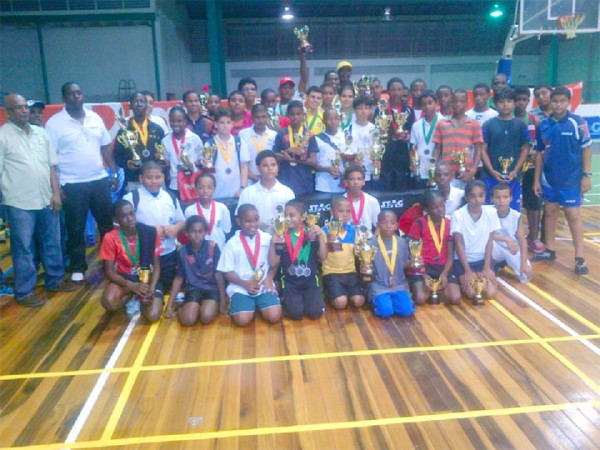 Winners and participants of the fourth Annual Digicel table tennis school tournament.
