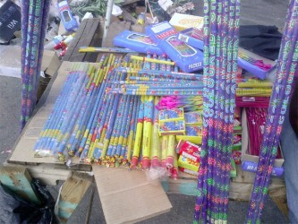 These flares and other such items were publicly displayed in the Robb Street area near Bourda Market. The vendor told this newspaper that while no squibs, firecrackers or other such pyrotechnics were publicly displayed, they could be produced upon demand