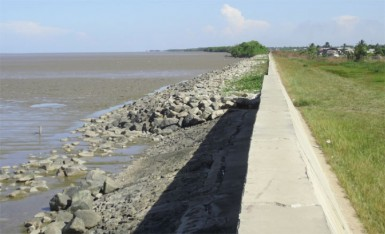 The Section 'C' Enterprise seawall showcased the grouted boulders and the riprap that were being tested in the area.