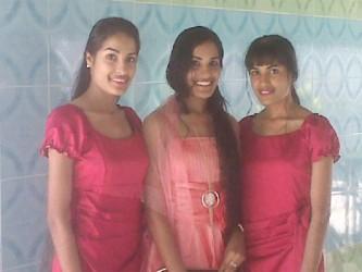 From left: Rajshri, Reenica and Radha Mansaran who celebrated their 19th birthday on Saturday last.