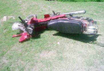 Bhagwandeen's motorcycle on the parapet