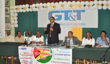 Minister of Culture, Youth and Sport Dr Frank Anthony (standing) at the head table at the launch of Guyana Softball Cup 111