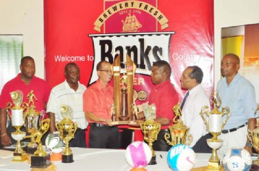 The GFA/Banks Beer Cup Launch Committee from left to right are- Banks DIH Limited Outdoor Events Manage Mortimer Stewart, Banks DIH Communications Officer Troy Peters, GFF Vice President of Technical and Tactical Development Ivan Persaud, Banks Beer Brand Manager Brian Choo-Hen, GFA President Vernon Burnett and GFF Referees Representative Roy McArthur. (Orlando Charles photo)