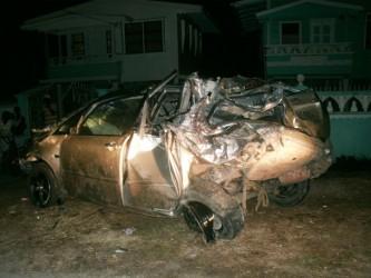 The wrecked Toyota Preimo