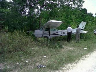 The damaged ASL plane at Kwakwani yesterday