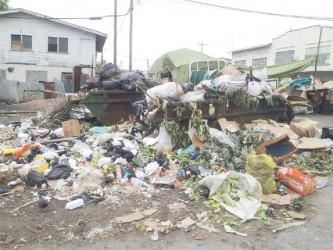 Garbage at La Penitence Market yesterday