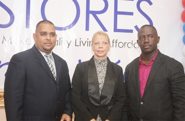 American Stores Limited officials: (from left) Jared Hamilton, New Business Development Manager; Pauline Hamilton, Company consultant and Austill Ogle, Guyana Branch Company Manager.