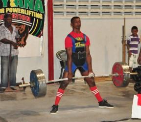 Record Breaker! Vijai Rahim on his way to smashing the 66kgjunior national and Caribbean dead lift record. (Orlando Charles photo)