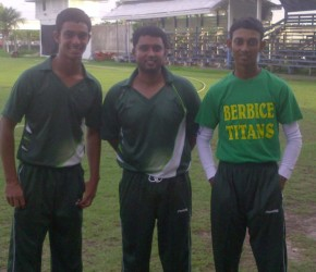 The three match-winners for Everest, Tagenarine Chanderpaul, Ryan Ramdass, centre and Troy Gonsalves, right.