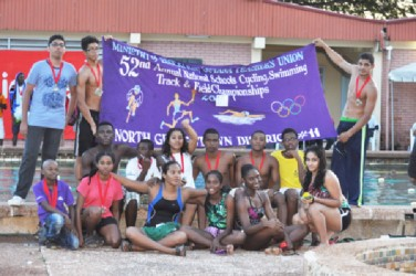 The winning District 11 North Georgetown swim team.