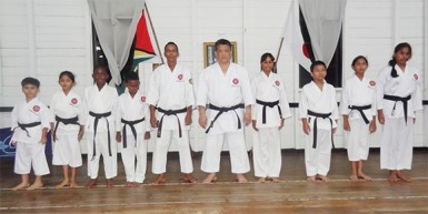 Shuseki Shihan Frank Woon-a-Tai (fifth from right)  is flanked by, from left, Rajiv Lee, Rachael Ramlal, Khalid Adams, Tyler Orderson (2nd Dan)  and Sensei Jeffrey Wong and from right, Mickelly Rahaman, Rabecca Ramlal, Zane Low and Alyssa Persaud (2nd Dan).