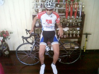 Junior star cyclist, Raul Leal about to go riding yesterday.