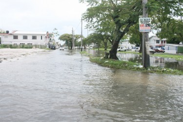 South Road was a virtual sea yesterday.