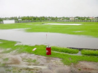 The waterlogged Enmore Community Centre Ground yesterday